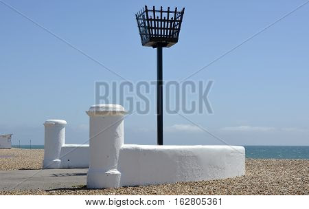 Traditional signal beacon on the seafront at Bognor Regis in West Sussex England