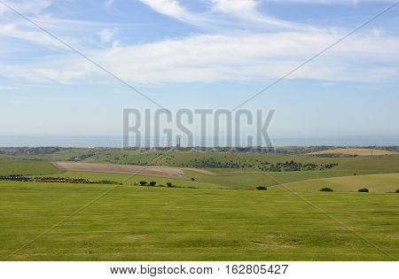 View from the South Downs towards the English Channel sea at Shoreham )near Brighton) in West Sussex England