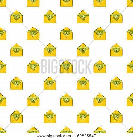 Envelope with money pattern. Cartoon illustration of envelope with money vector pattern for web