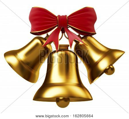 Golden bells with red bow isolated on a white
