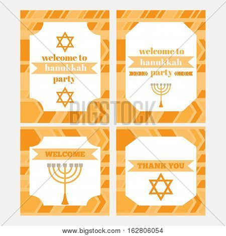 Printable set of Jewish holiday Hanukkahparty elements. Templates labels icons and wraps. with traditional donuts holiday candlestick menora and scroll horn and wooden spinning top and coins. greeting card. Hebrew Judaism symbols