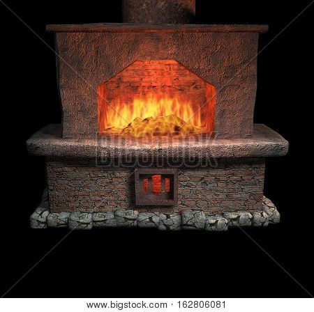 red brick fireplace. metal pipe. burning bright fire. isolate on a black background.