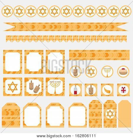 Printable set of Jewish holiday Hanukkah party elements. Templates labels icons and wraps with traditional donuts holiday candlestick menora and scroll horn and wooden spinning top and coins. Hebrew Judaism symbols