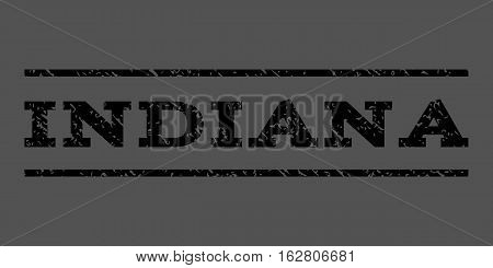 Indiana watermark stamp. Text tag between horizontal parallel lines with grunge design style. Rubber seal stamp with unclean texture. Vector black color ink imprint on a gray background.