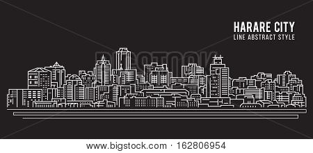 Cityscape Building Line art Vector Illustration design - Harare city