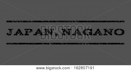 Japan, Nagano watermark stamp. Text tag between horizontal parallel lines with grunge design style. Rubber seal stamp with scratched texture. Vector black color ink imprint on a gray background.