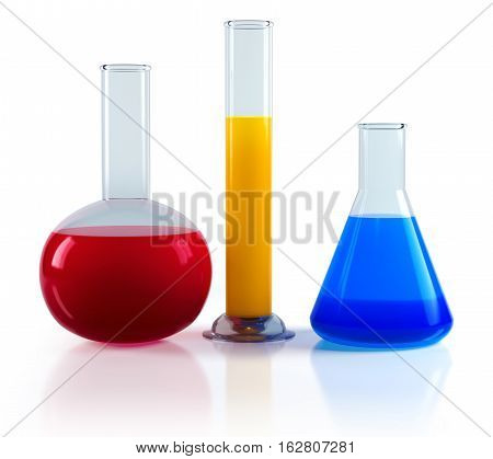 Laboratory chemical flasks isolated on a white