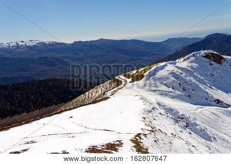 The Tops Of The Mountains Covered With Snow. The Slopes Are Thickets Of Yellow And Green Trees. In T