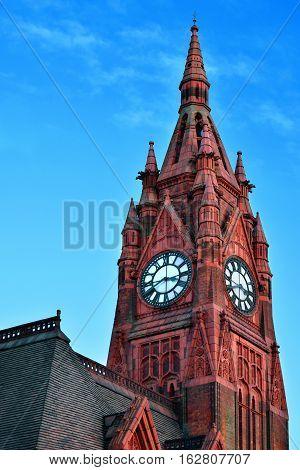 Old church in Birmingham city center, on sunny day