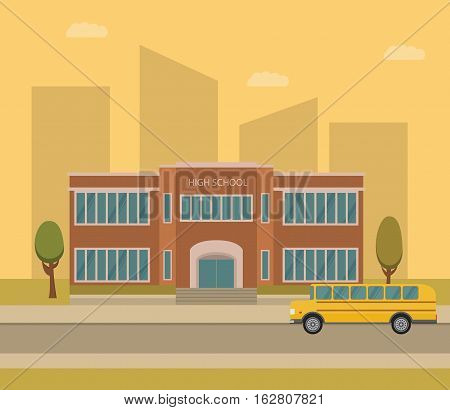 Vector flat City landscape with the schoolhouse and bus. school background set for website and internet.