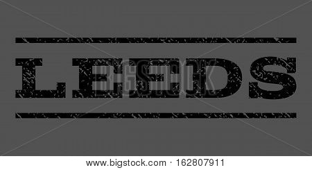 Leeds watermark stamp. Text caption between horizontal parallel lines with grunge design style. Rubber seal stamp with unclean texture. Vector black color ink imprint on a gray background.