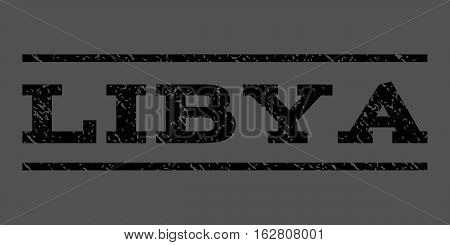Libya watermark stamp. Text tag between horizontal parallel lines with grunge design style. Rubber seal stamp with unclean texture. Vector black color ink imprint on a gray background.