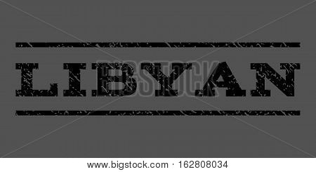 Libyan watermark stamp. Text tag between horizontal parallel lines with grunge design style. Rubber seal stamp with dust texture. Vector black color ink imprint on a gray background.
