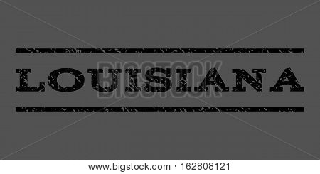 Louisiana watermark stamp. Text caption between horizontal parallel lines with grunge design style. Rubber seal stamp with dust texture. Vector black color ink imprint on a gray background.