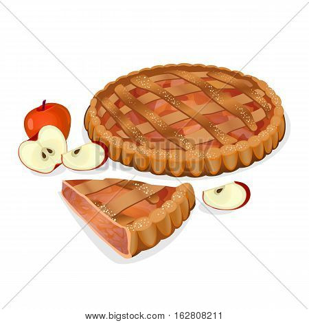Apple pie with fruits, cut slice isolated. Traditional homemade tasty cake. Apple elements nearby. Fresh bakery. Principal filling ingredient is apple. Baked sweet cooking. Vector illustration