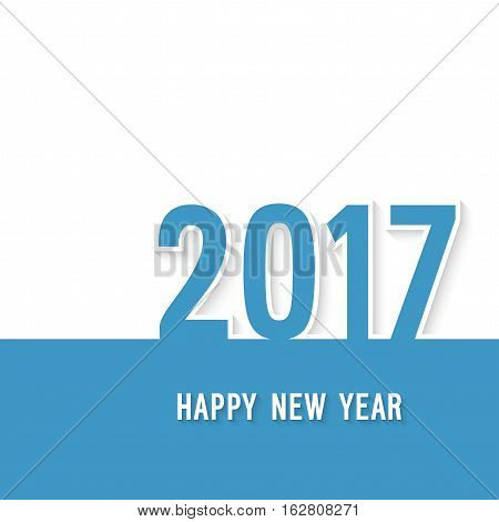 Happy new year 2017 paper postcard. Vector illustration.