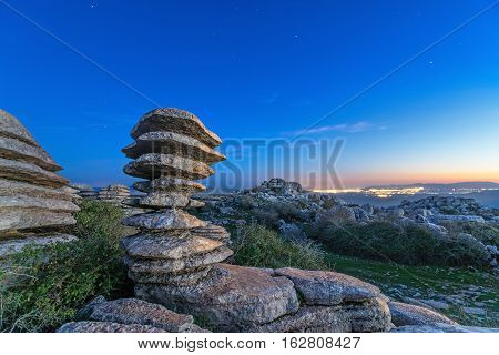 laminate rock on sunset in El Torcal de Antequera natural park Andalusia Spain