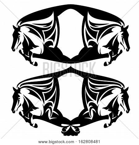 jumping horses and shield heraldic composition - black and white vector design set