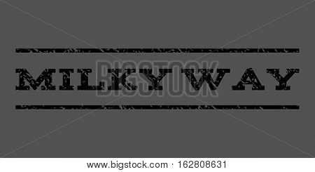 Milky Way watermark stamp. Text caption between horizontal parallel lines with grunge design style. Rubber seal stamp with unclean texture. Vector black color ink imprint on a gray background.