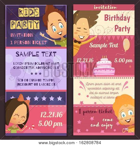 Kids party invitation layout vertical banners with glad children faces birthday cake and places for sample text flat vector illustration