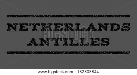 Netherlands Antilles watermark stamp. Text caption between horizontal parallel lines with grunge design style. Rubber seal stamp with unclean texture.