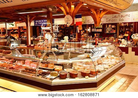 Le Bois Plage en Re France - september 27 2016 : pork butcher in the covered market