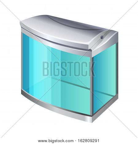 Plastic or glass rectangular container for use as a terrarium or aquarium. 3d isometric view. Fishkeepers use aquaria to keep fish, invertebrates, amphibians, aquatic reptiles, plants. Vector