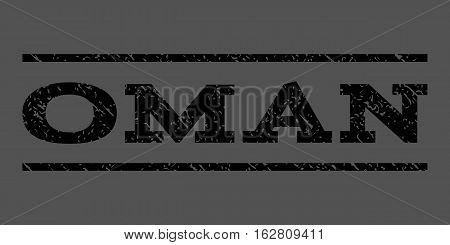 Oman watermark stamp. Text caption between horizontal parallel lines with grunge design style. Rubber seal stamp with unclean texture. Vector black color ink imprint on a gray background.