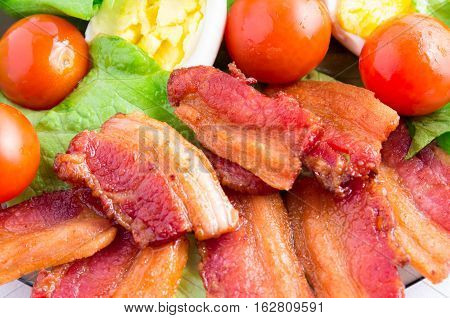 Lettuce, Cherry Tomatoes, Bacon And Boiled Eggs
