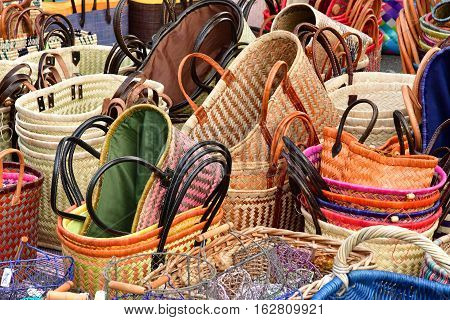 Le Bois Plage en Re France - september 27 2016 : bags at the market