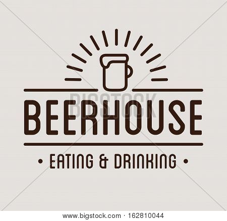 Black logo. Beer house label template. Graphic design element for business: cafe, bar, pub. Vector Illustration isolated on white background.