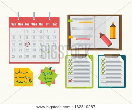 Calendar with mark on date, notebook with agenda, reminder and markers, task lists and note with plan, memo notepad. Vector icon set in flat design, business graphic illustration isolated on white