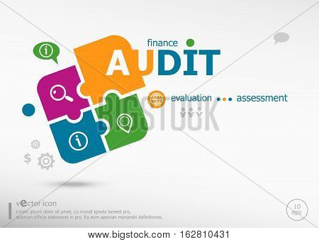 Audit Word Cloud On Colorful Jigsaw Puzzle.