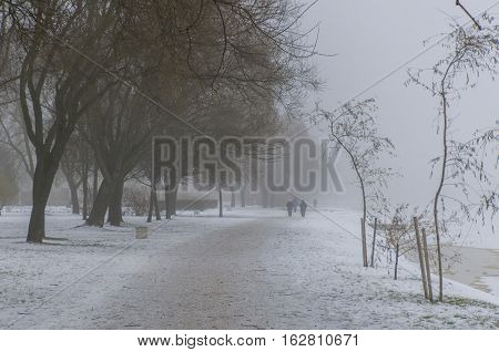 Winter mist in the park next to the river with trees and senior humans silhouettes distantly monocle lens