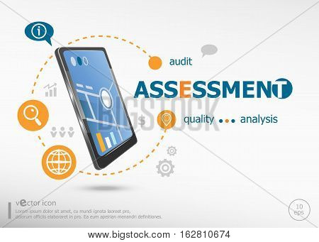 Assessment Concept And Realistic Smartphone Black Color.