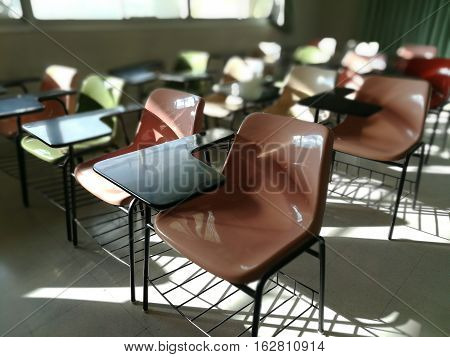 School classroom with school desks in thai school