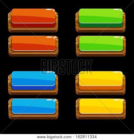 Colors wooden Push Buttons For A Game Or Web Design Element, gui elements set