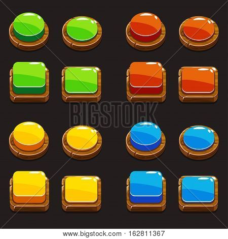 Cartoon colors wooden Push Buttons For A Game Or Web Design Element, gui elements collection