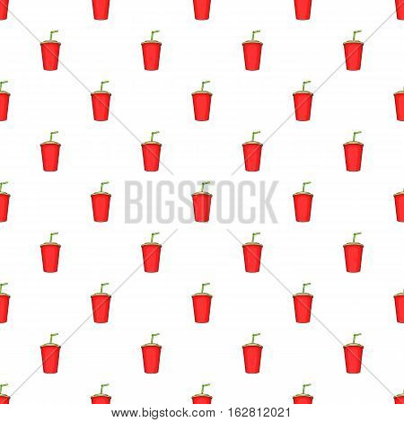 Cartoon illustration of plastic cup with straw vector pattern for web