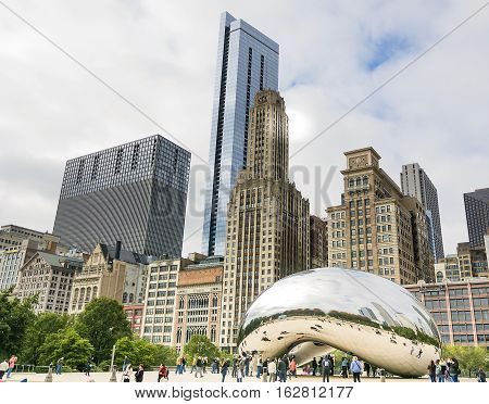 Chicago IL USA october 28 2016: Cloud Gate in Millennium Park in Chicago. The Cloud Gate is a major tourist attraction in Chicago