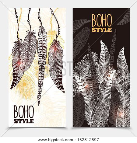 Hand drawn tribal vertical banners with bird feathers of different shapes in boho style vector illustration