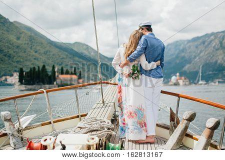 Honeymoon Couple Travel On Yacht