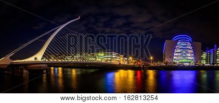 Dublin Samuel Beckett Bridge Night View
