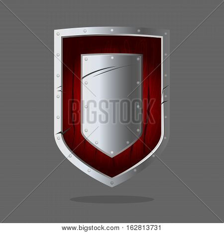 Armor shield in silver and dark red colors. Personal armor to intercept attacks by stopping arrows or redirecting hit from sword, mace, battle axe or similar weapon to side of shield-bearer. Vector