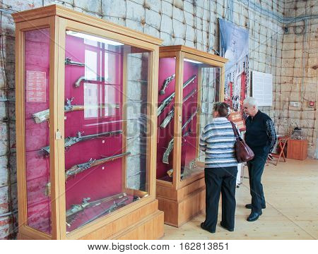 Gatchina, Russia - 3 December, Customers visiting the exhibition, 3 December, 2016. Visit the Museum Reserve Gatchina Palace.