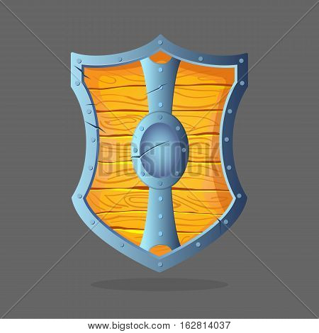 Armor shield isolated vector illustration. Wooden shield with metal frame and oval middle in the center. War protective element. Add your emblem. Medieval protection item symbol, army equipment