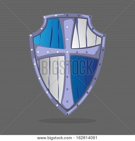 Wooden armor shield in blue and white colors with crest emblem in the middle. Guard protective medieval icon isolated on dark grey background. Middle ages military equipment. Symbol of defence vector