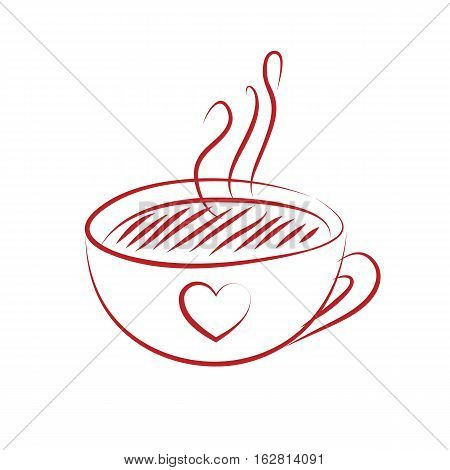 Coffee cup with red heart isolted on white background. vector illustration