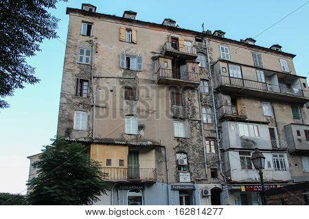 The view of dilapidated building of Corte Corse France.