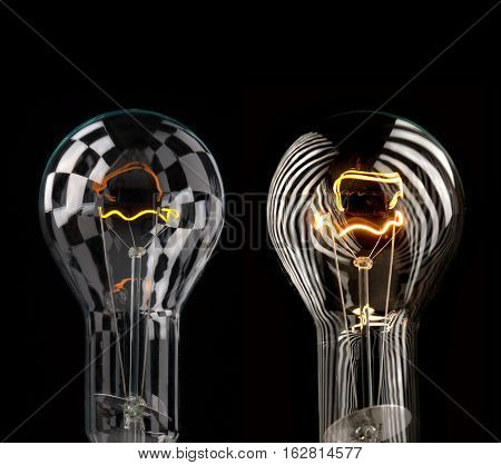 two bulb isolated on a black background